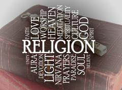 religion word cloud - stock illustration