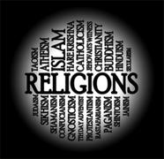 religions word cloud - stock illustration
