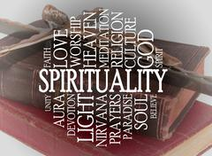 spirituality word cloud - stock illustration