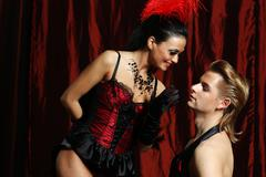 couple dancer moulin rouge - stock photo