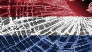 Stock Illustration of broken glass or ice with a flag, the netherlands