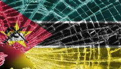 broken glass or ice with a flag, mozambique - stock illustration