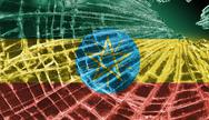 Stock Illustration of broken glass or ice with a flag, ethiopia