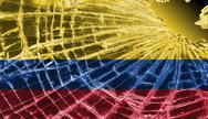 Stock Illustration of broken glass or ice with a flag, colombia