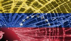 broken glass or ice with a flag, venezuela - stock illustration