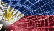 Stock Illustration of broken glass or ice with a flag, the phillippines