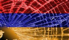 broken glass or ice with a flag, armenia - stock illustration