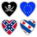 Stock Illustration of flags in the shape of a heart, symbolic flags