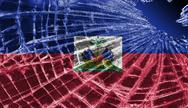Stock Illustration of broken glass or ice with a flag, haiti