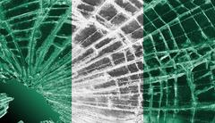 broken glass or ice with a flag, nigeria - stock illustration
