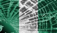 Stock Illustration of broken glass or ice with a flag, nigeria