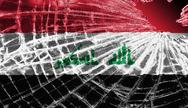 Stock Illustration of broken glass or ice with a flag, iraq