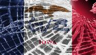 Stock Illustration of broken glass or ice with a flag, iowa