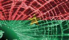 broken glass or ice with a flag, burkina faso - stock illustration