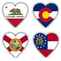 Stock Illustration of flags in the shape of a heart, us states