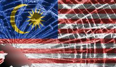 Broken glass or ice with a flag, malaysia Stock Illustration