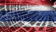 Stock Illustration of broken glass or ice with a flag, thailand