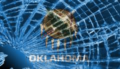 Broken glass or ice with a flag, oklahoma Stock Illustration