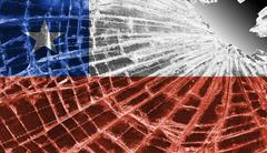 broken glass or ice with a flag, chile - stock illustration
