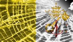 Broken glass or ice with a flag, vatican city Stock Illustration