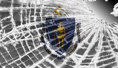 Broken glass or ice with a flag, massachusetts Stock Illustration