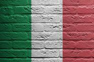 Stock Illustration of brick wall with a painting of a flag, italy