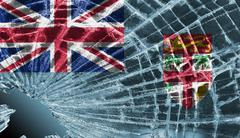 broken glass or ice with a flag, fiji - stock illustration