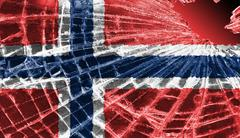 Broken glass or ice with a flag, norway Stock Illustration