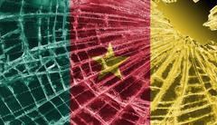 Broken glass or ice with a flag, cameroon Stock Illustration