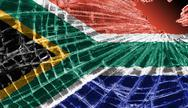 Stock Illustration of broken glass or ice with a flag, south africa