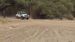 Crossing a dry Riverbed Stock Footage