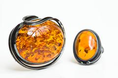 Stock Photo of Amber pendant and ring