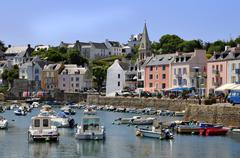Port of Sauzon at Belle Ile in France Stock Photos