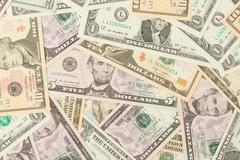 1, 5, 10 and 20 us currency Stock Photos