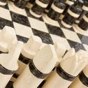 Stock Photo of unique handmade chess set (pottery), isolated