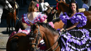 Stock Video Footage of Girls Riders in Andalusian romeria or pilgrimage, Spain