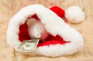 Stock Photo of piggybank guarding santa's crisis budget