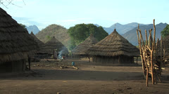 Didinga Village in Evening Light Stock Footage