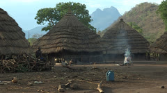 Medium Shot of Didinga Village Stock Footage