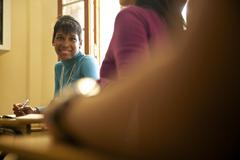 students and high school education, portrait of african american teen - stock photo