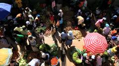 Vendors in African market Cape Verde Archipelago, - stock footage