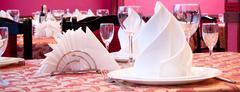 Serve table in restaurant Stock Photos