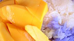 Thai Mango with Sticky Rice Stock Photos