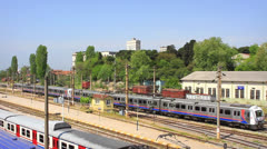 Electric train leaving from Haydarpasa Stock Footage
