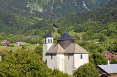 Church of Bernex in French Alps Stock Photos