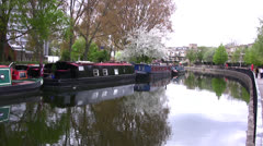 Barges on Regents canal in London Stock Footage