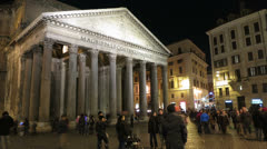 Italy Rome Pantheon night time lapse - stock footage