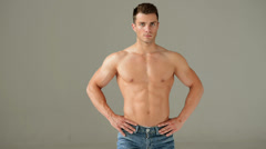 Muscular Man Showing His Biceps - stock footage