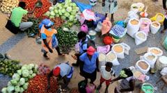 African street market vendors Cape Verde Islands Stock Footage