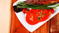 Main course on wood Stock Footage